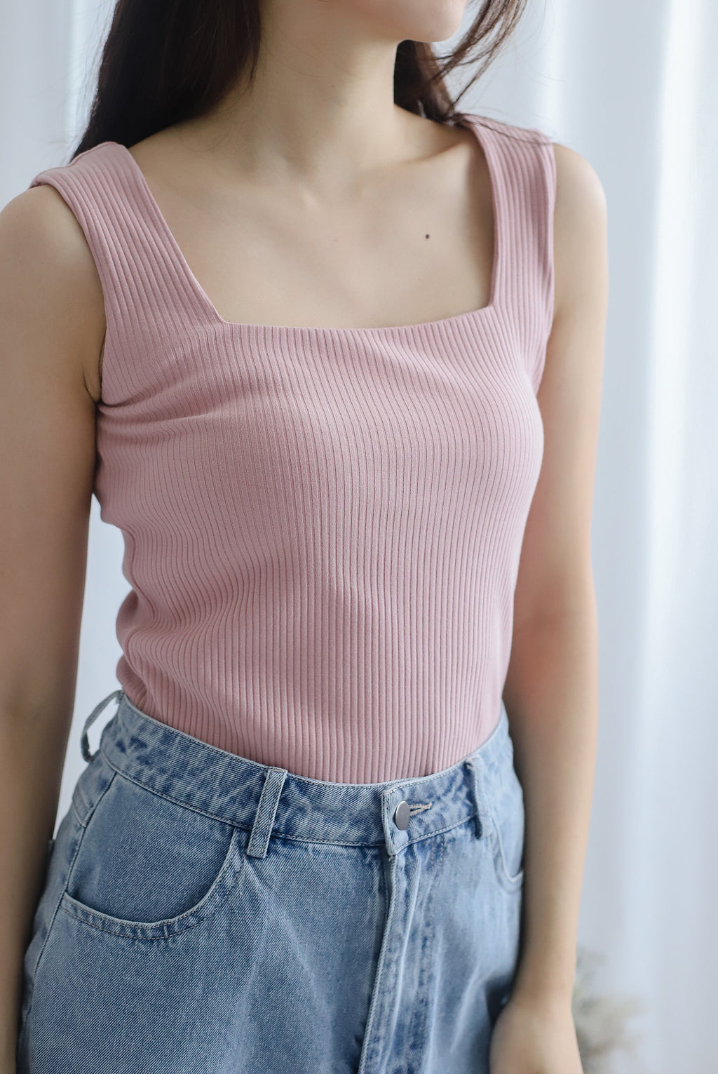 TDC Journi Ribbed Square Neck Top In Blush