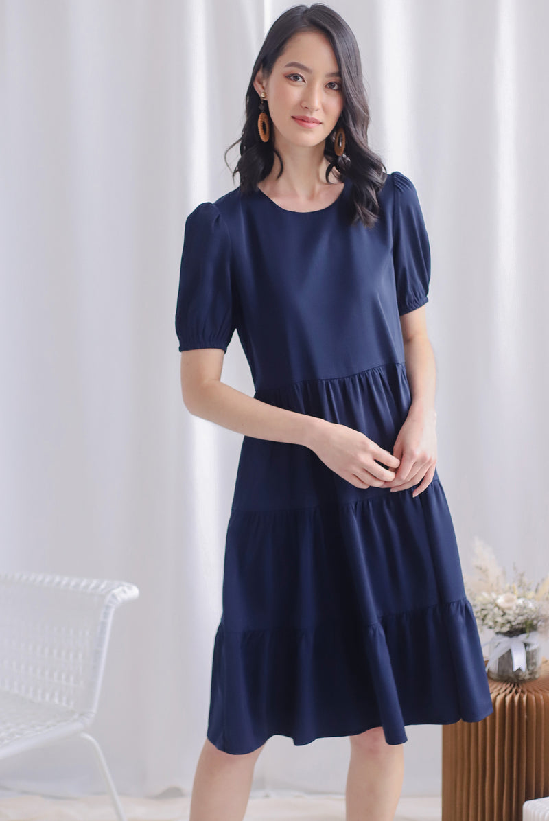 TDC Kora Cupcake Midi Dress In Navy Blue