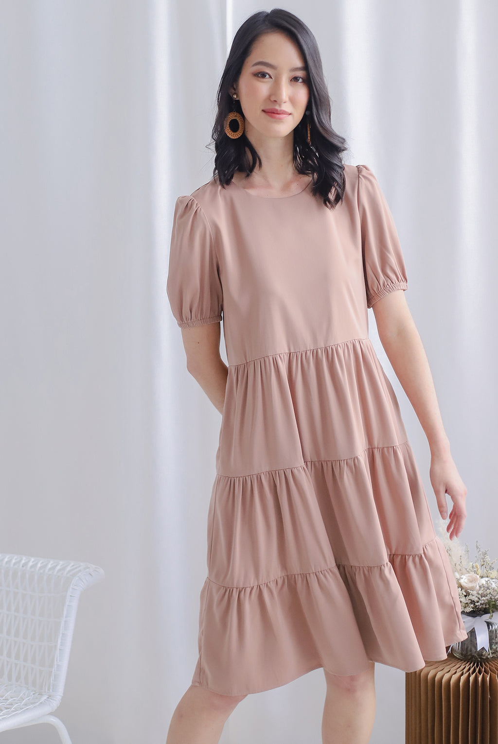 TDC Kora Cupcake Midi Dress In Pink Sand