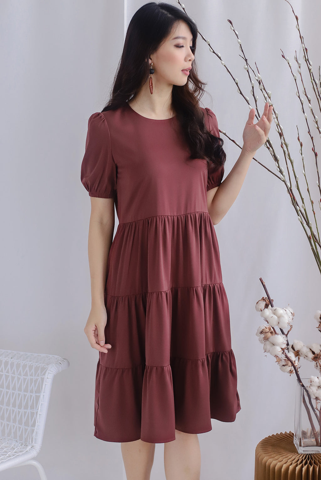 TDC Kora Cupcake Midi Dress In Rosewood