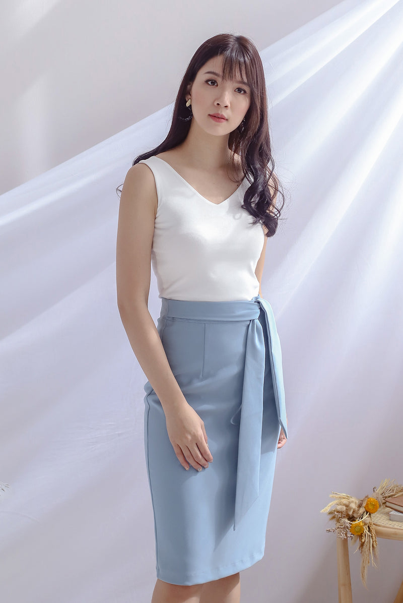 TDC Lollia Tie Waist Work Skirt In Ash Blue