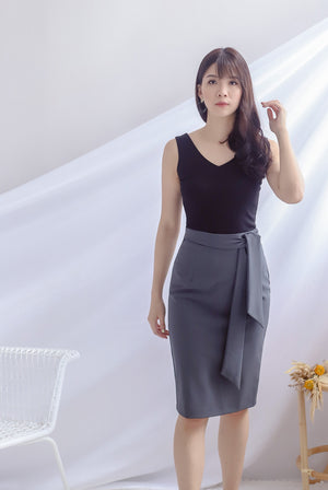 TDC Lollia Tie Waist Work Skirt In Dark Grey
