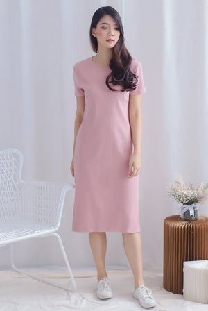 TDC Maisy Sleeved Ribbed Dress In Blush