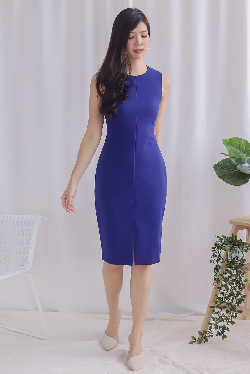 TDC Montrel Classic Midi Dress In Cobalt Blue