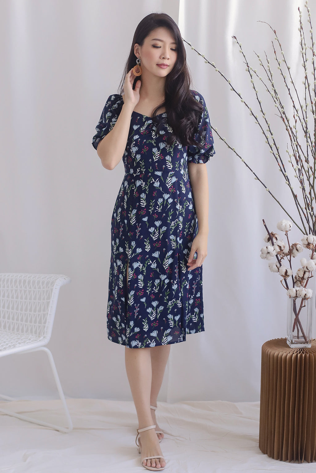 TDC Noelle Zip Slit Midi Dress In Navy Floral