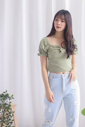 TDC Pilar Twist Sweetheart Top In Pistachio