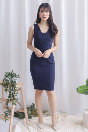 *Premium* TDC Reign Origami Work Dress In Navy Blue