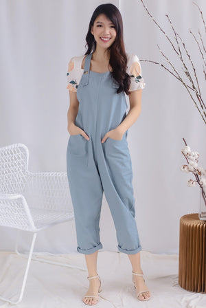 TDC Rubi Buttons Jumpsuit In Light Blue