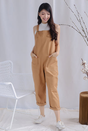 TDC Rubi Buttons Jumpsuit In Camel