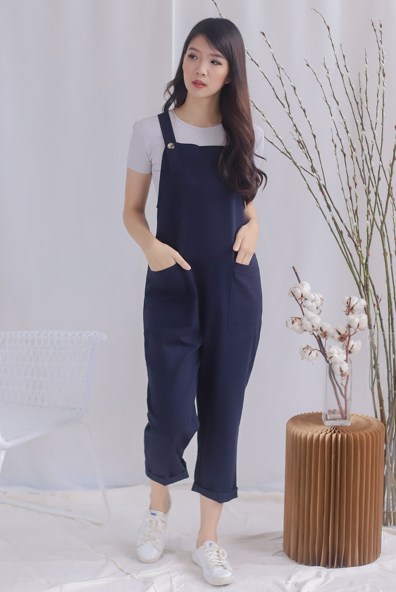 TDC Rubi Buttons Jumpsuit In Navy Blue
