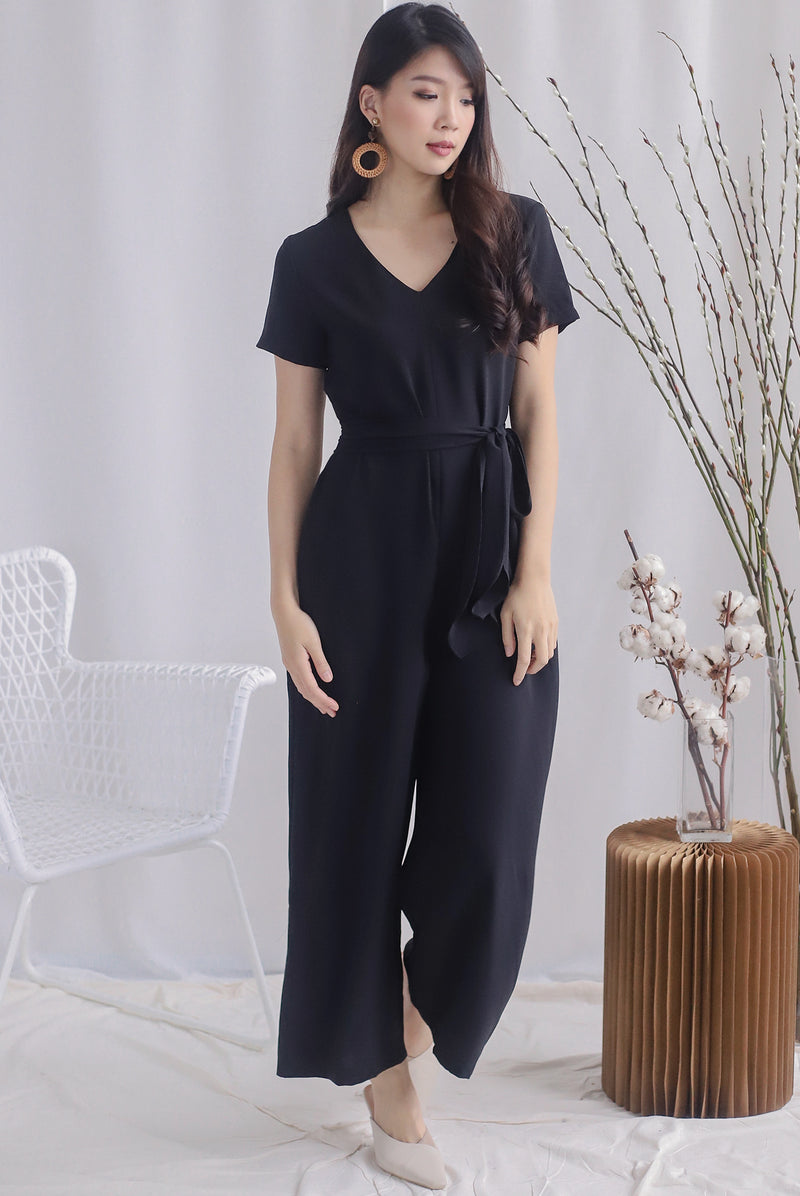 TDC Sunni V Neck Tie Waist Jumpsuit In Black