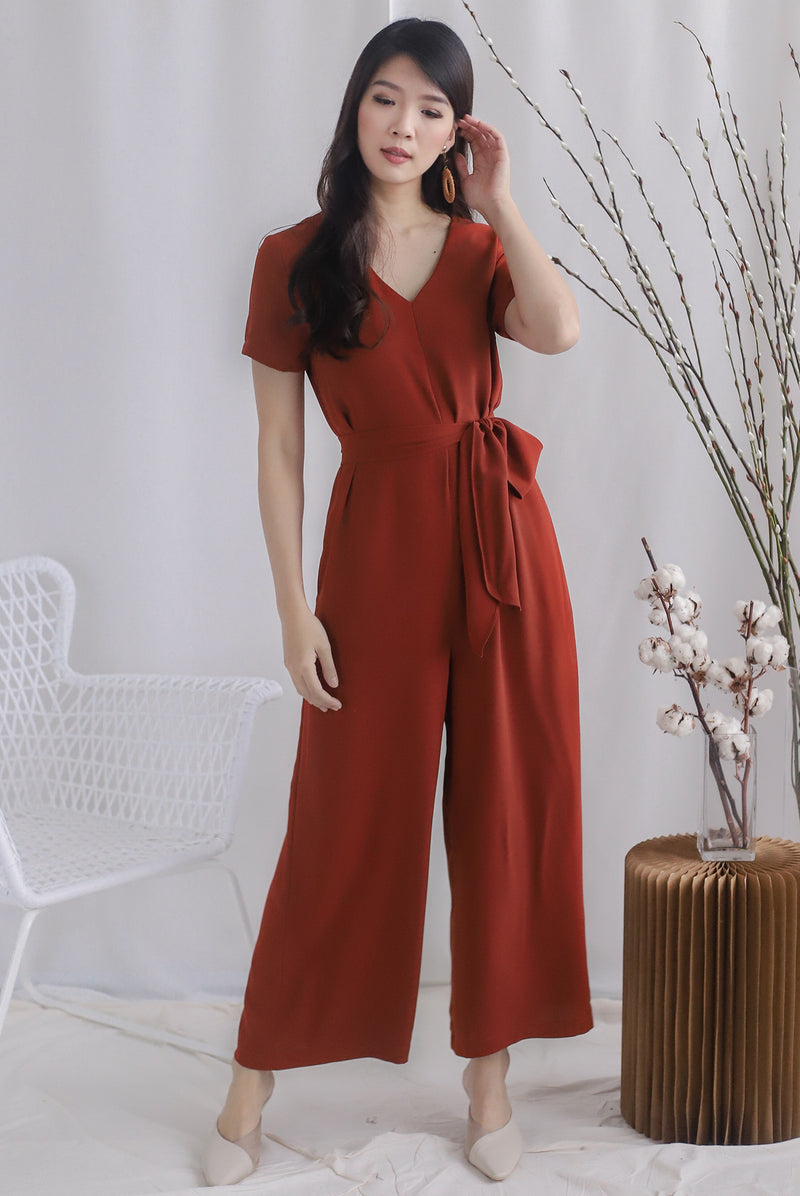 TDC Sunni V Neck Tie Waist Jumpsuit In Brick