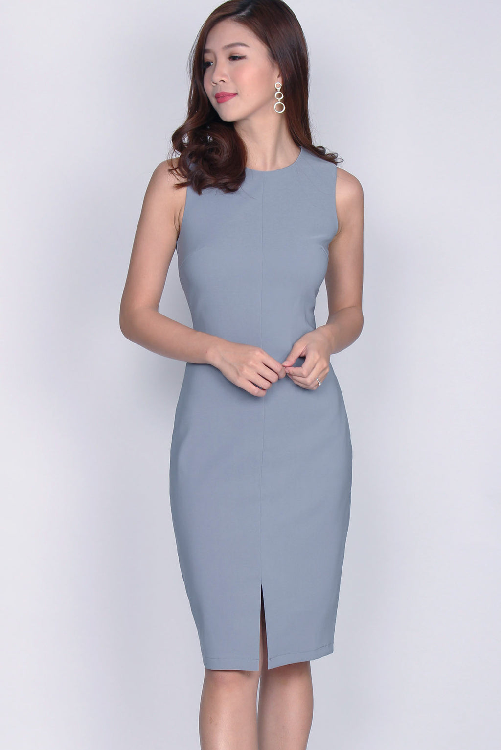 *Restocked* TDC Montrel Classic Midi Dress In Ash Blue