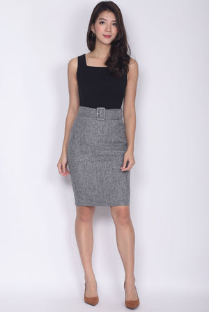 TDC Adecyn Belted Work Dress In Black Tweed