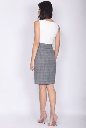 TDC Adecyn Belted Work Dress In White Plaids