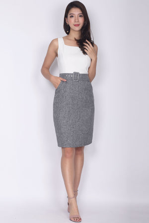 TDC Adecyn Belted Work Dress In White Tweed