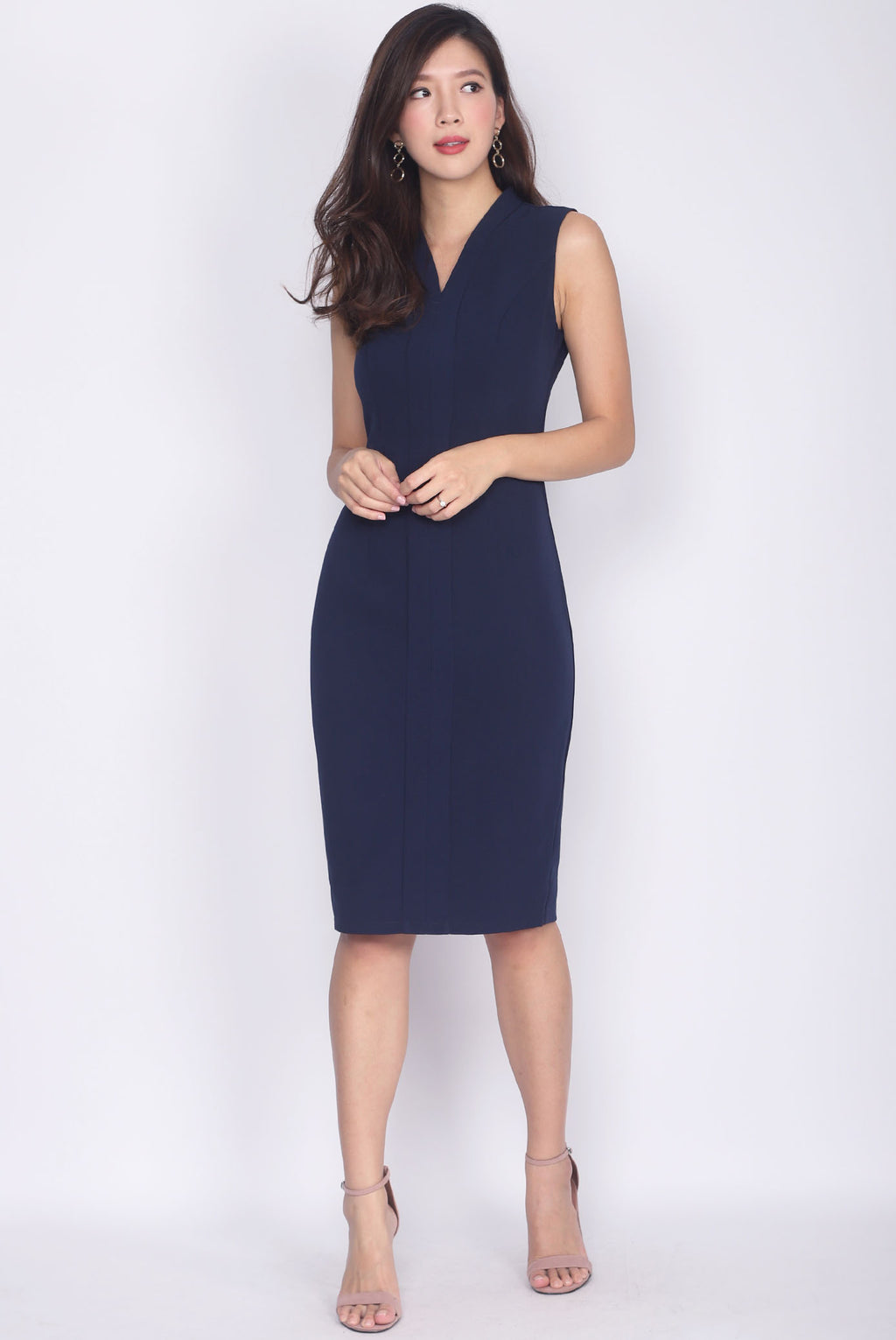 *Premium* TDC Aisha Oriental Obi Belt Pencil Dress In Navy Blue