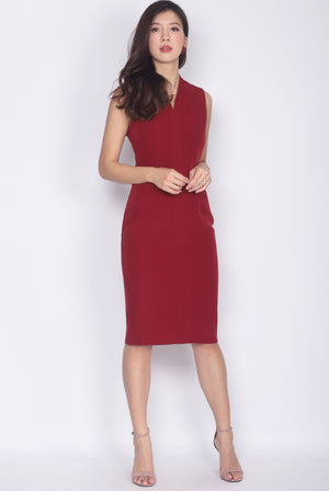 *Premium* TDC Aisha Oriental Obi Belt Pencil Dress In Wine Red