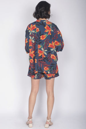 TDC Alcee Leafy Reversible Outerwear In Navy Blue