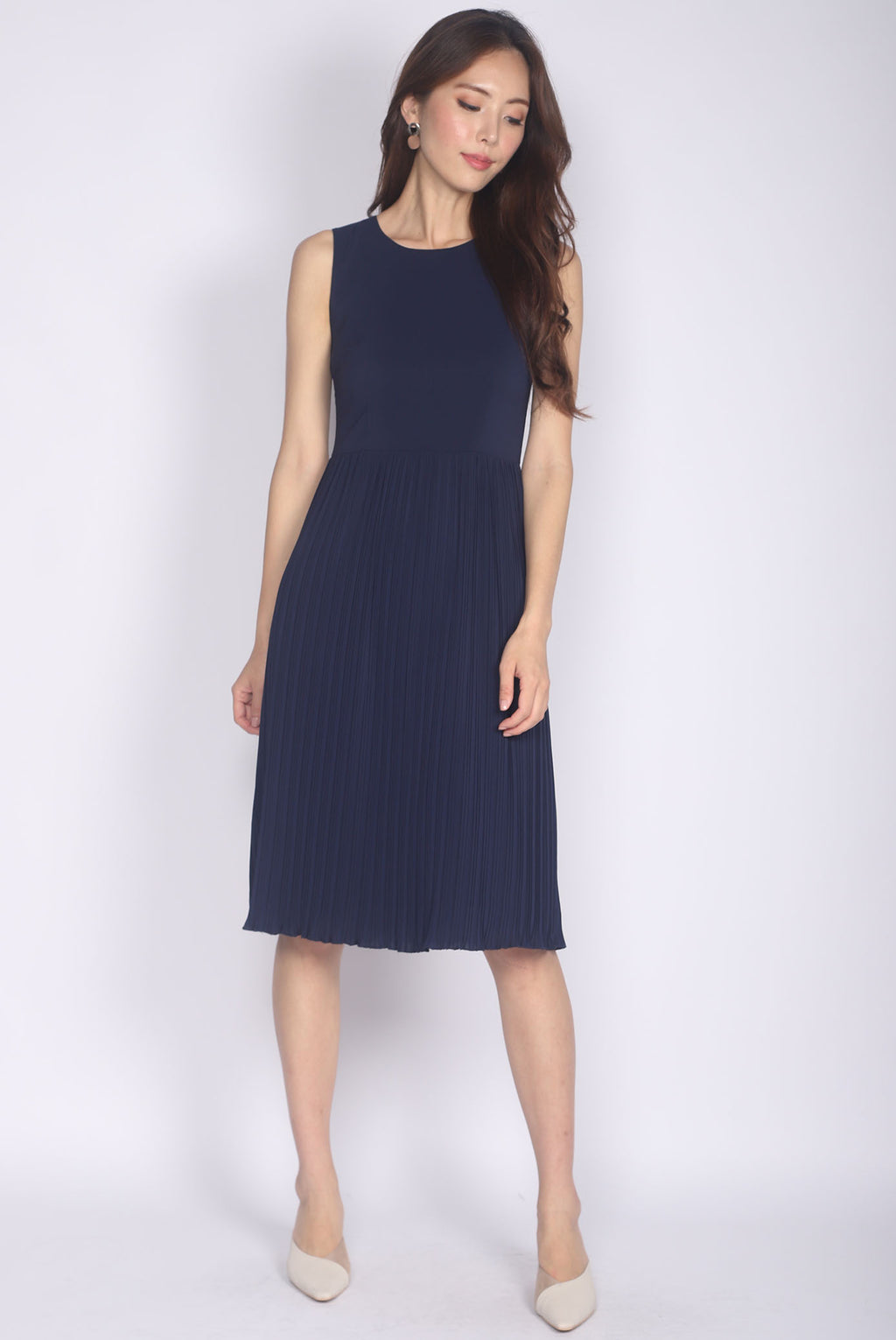 TDC Aliette Pleated Midi Dress In Navy Blue