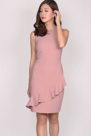 TDC Amandine Tier Pleated Dress In Blush