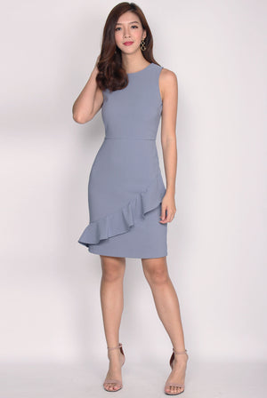 TDC Amandine Tier Pleated Dress In Periwinkle