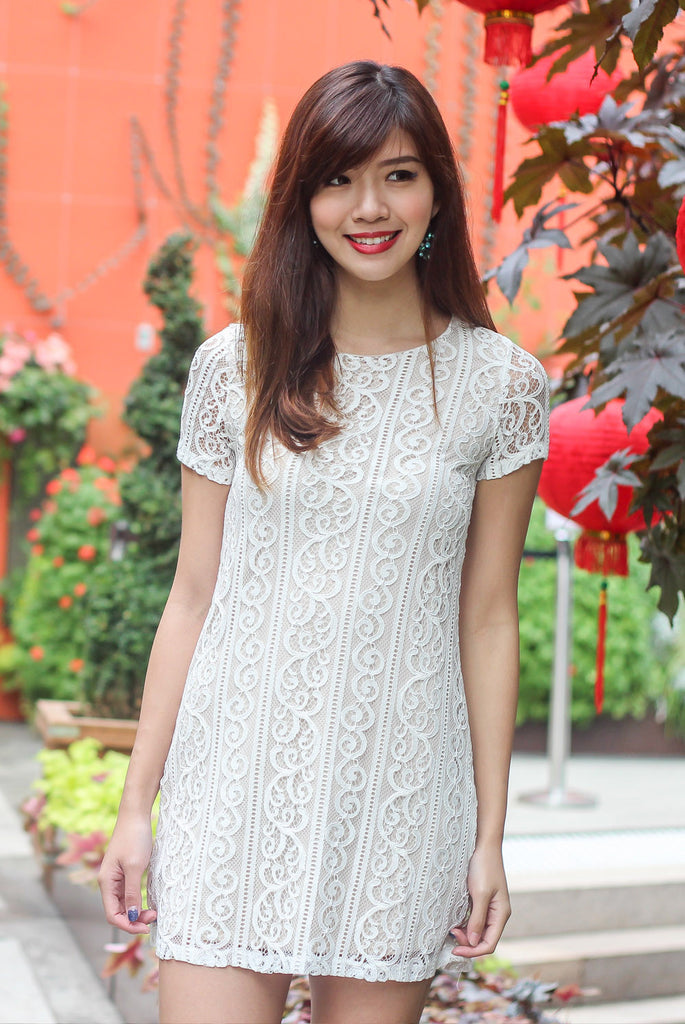 TDC Arianna Lace Shift Dress In White