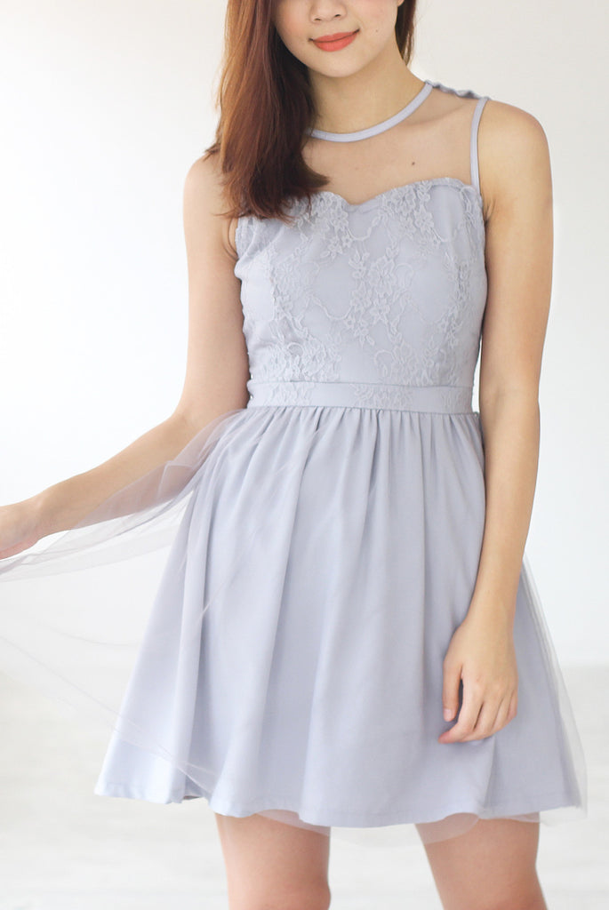 TDC Arista Organza Dress In Grey