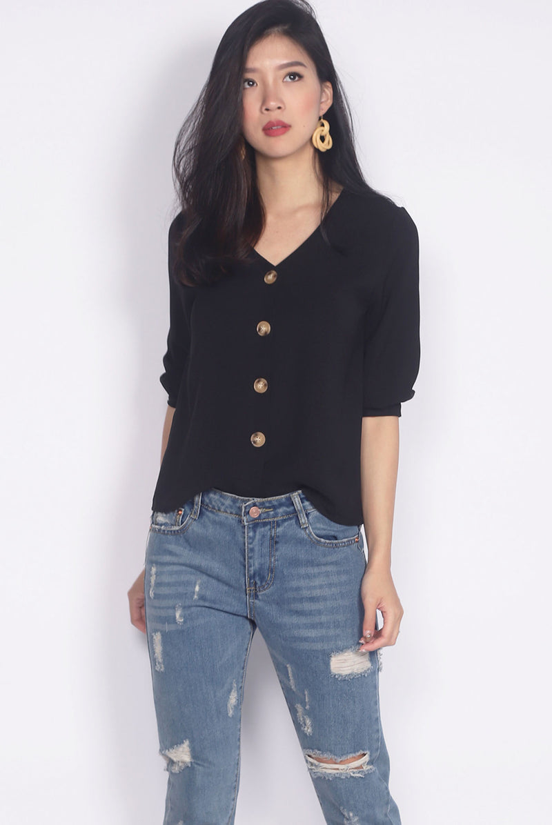 TDC Auria Buttons Cuff Sleeve Top In Black