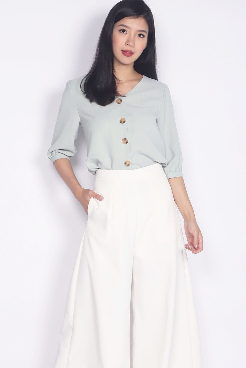 TDC Auria Buttons Cuff Sleeve Top In Saga