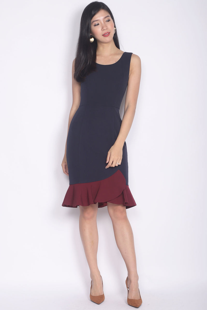 TDC Balthana Stacked Hem Mermaid Dress In Navy/Wine
