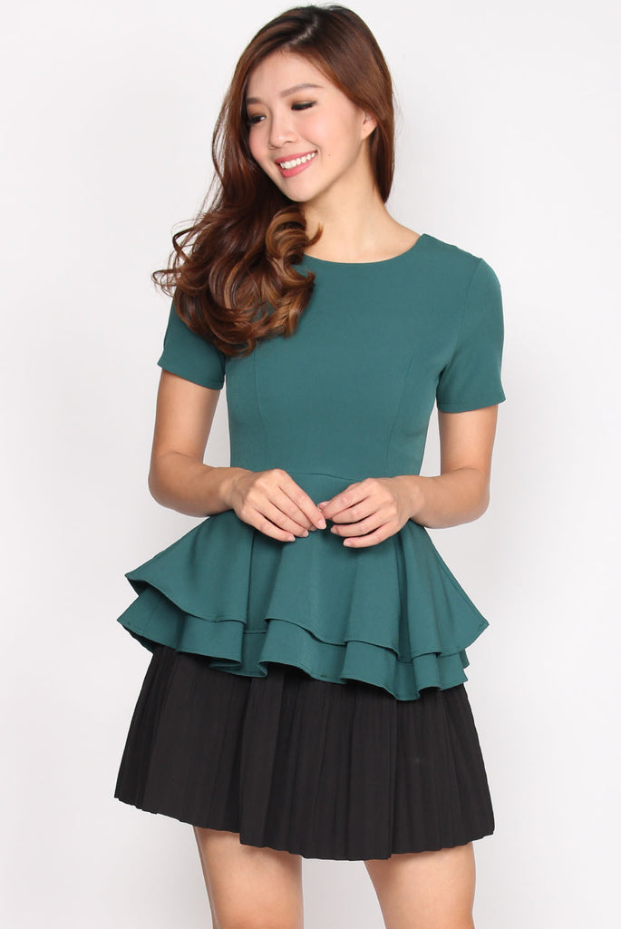 *Premium* TDC Bile Layer Peplum Top In Teal