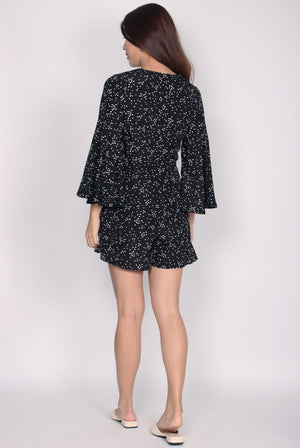 TDC Bettine Bell Sleeve Romper In Black