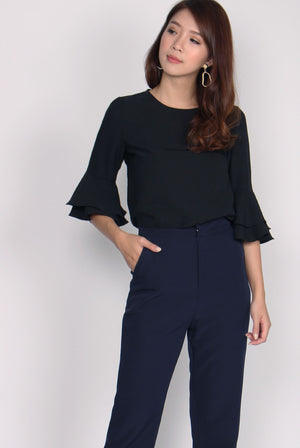 TDC Beyla Bell Sleeve Top In Black