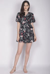 TDC Blossom Sleeved Romper In Black