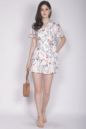 TDC Blossom Sleeved Romper In White