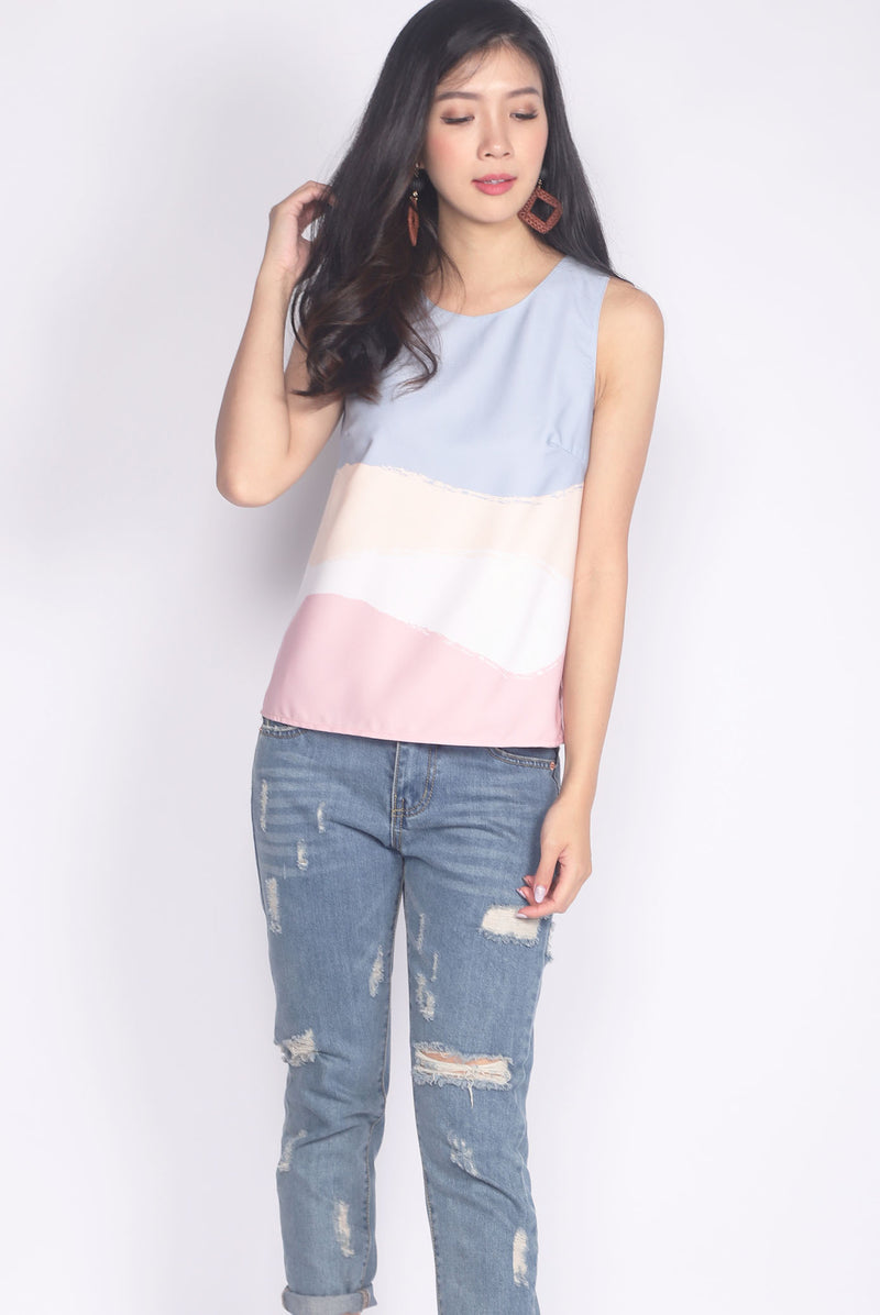 Bobbie Brush Reversible Tank Top In Blue Prints/Pink