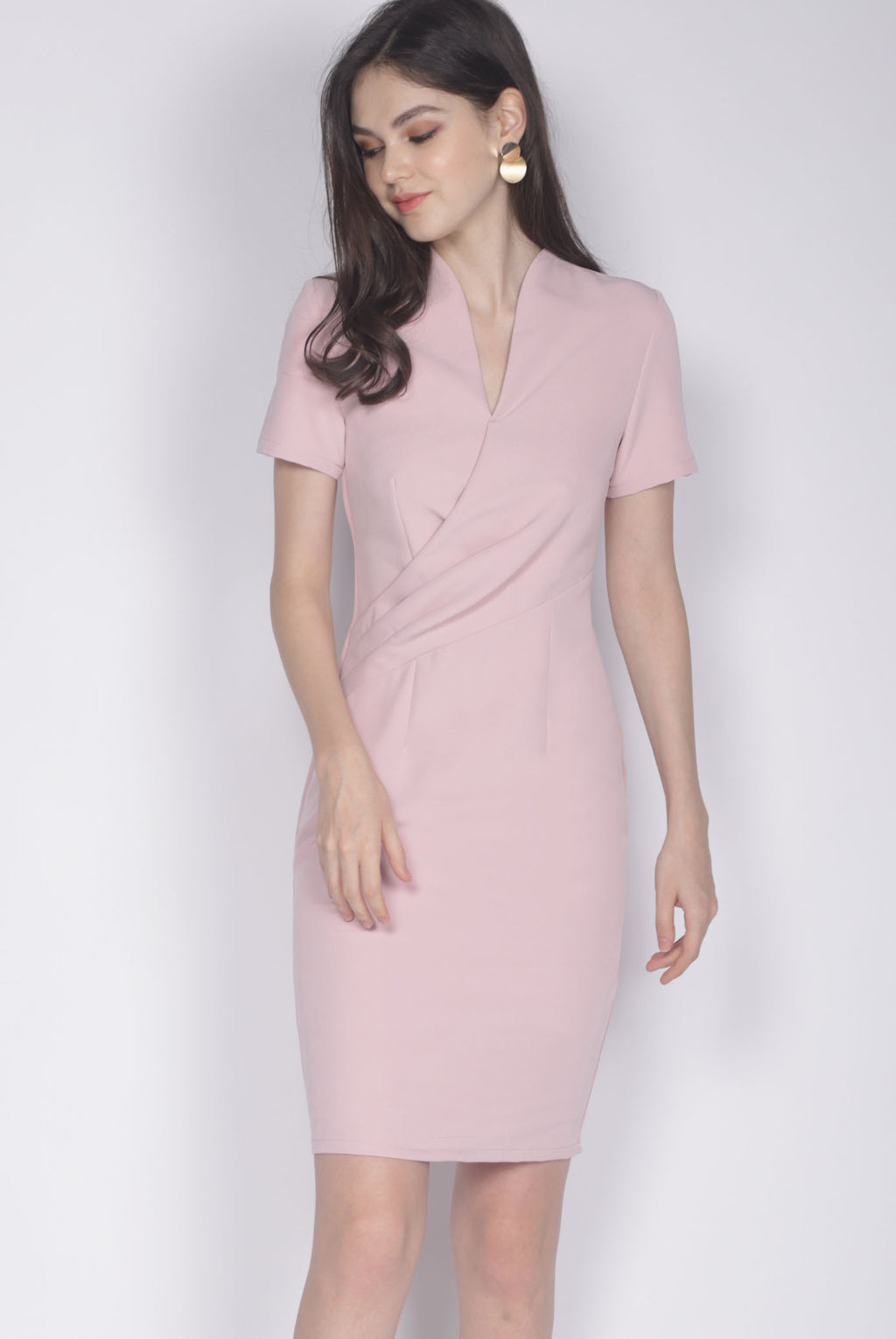 TDC Bregan High Collar Pencil Dress In Blush