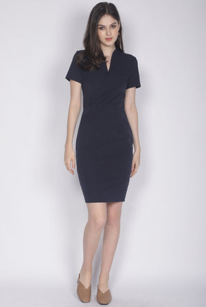 TDC Bregan High Collar Pencil Dress In Navy Blue