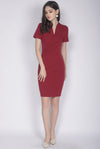 TDC Bregan High Collar Pencil Dress In Wine Red