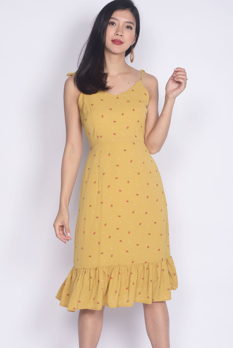 TDC Briott Tie Shoulder Dress In Mustard