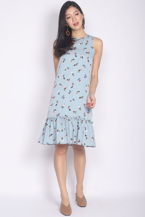 TDC Castalia Abstract Ruffle Drop Hem Dress In Blue