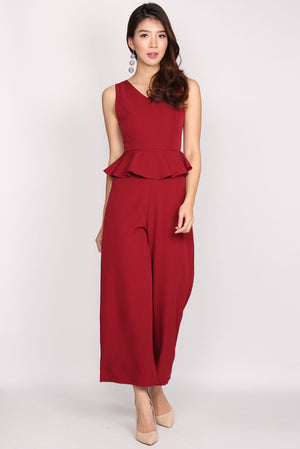 TDC Charisse Peplum Jumpsuit In Wine Red