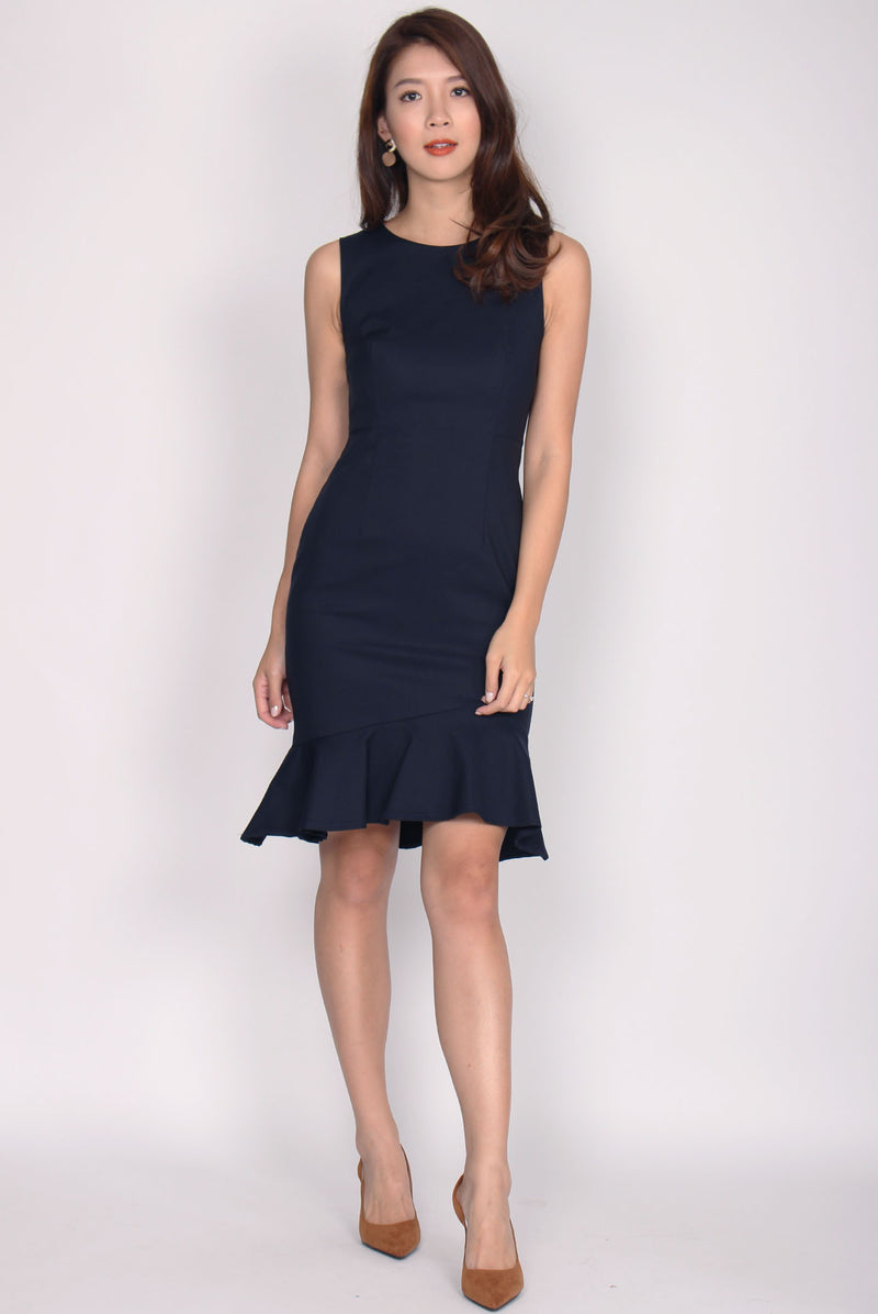 *Restock* TDC Chastity Mermaid Midi Dress In Midnight Blue