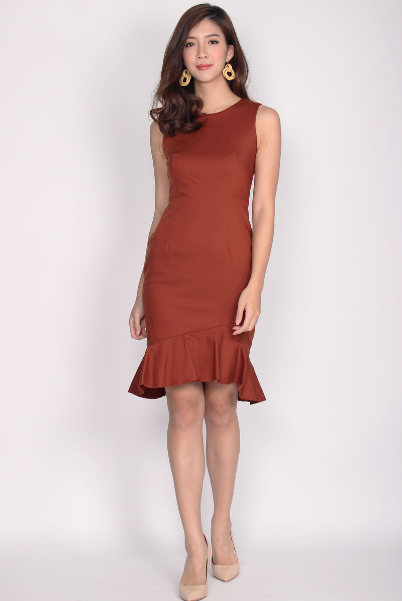 TDC Chastity Mermaid Midi Dress In Terracotta