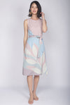 *Exclusive Print* TDC Christella Leafy Abstract Slit Dress In Pink