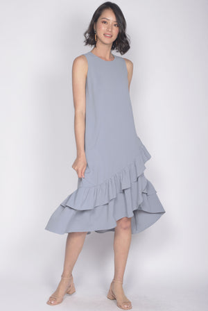TDC Cimorene Ruffle Tiered Midi Dress In Ash Blue