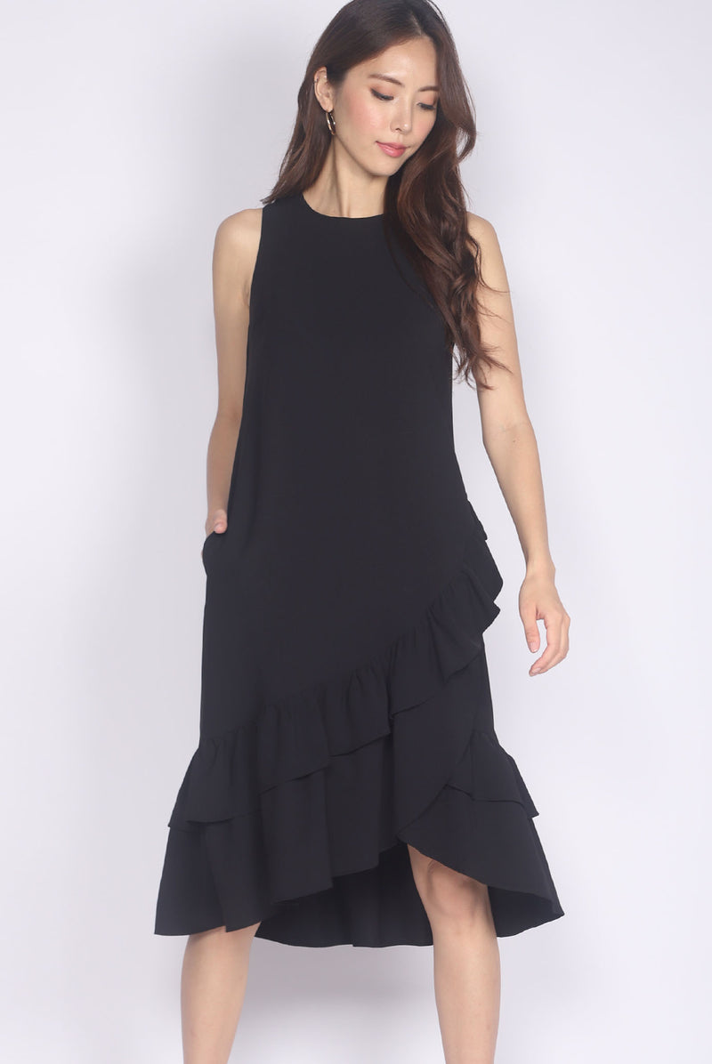 TDC Cimorene Ruffle Tiered Midi Dress In Black