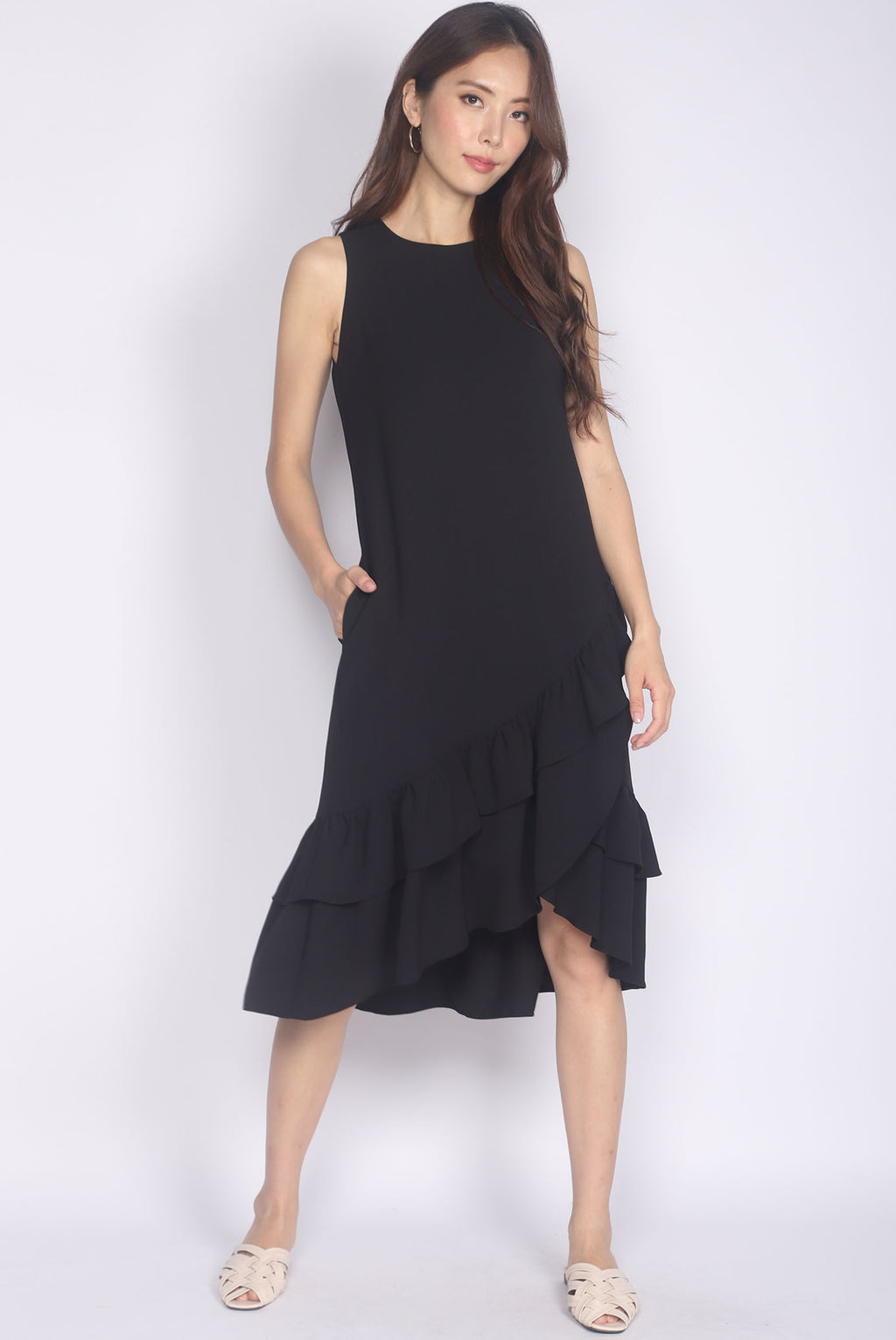 *Restocked* TDC Cimorene Ruffle Tiered Midi Dress In Black