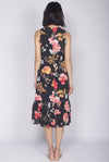 TDC Cimorene Ruffle Tiered Midi Dress In Black Floral